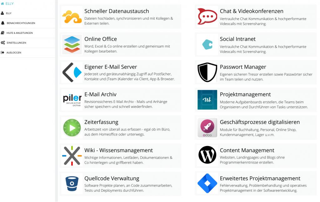 Schlanke IT Infrastruktur - die Apps auf dem ELLY Server