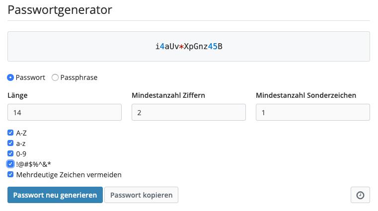 Passwort generieren